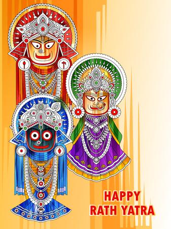 Ratha Yatra of Lord Jagannath, Balabhadra and Subhadra on Chariot Ilustracja
