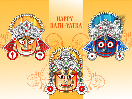 Ratha Yatra of Lord Jagannath, Balabhadra and Subhadra on Chariot Illusztráció