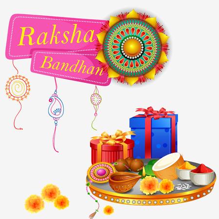 Decorated rakhi for Indian festival Raksha Bandhan Illustration
