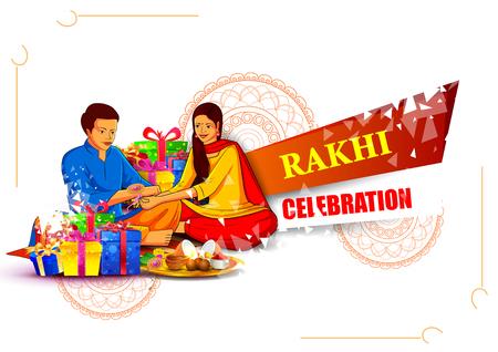 Brother and sister tying decorated Rakhi for Indian festival Raksha Bandhan Vector Illustration