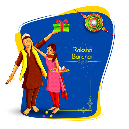 Brother and sister tying decorated Rakhi for Indian festival Raksha Bandhan
