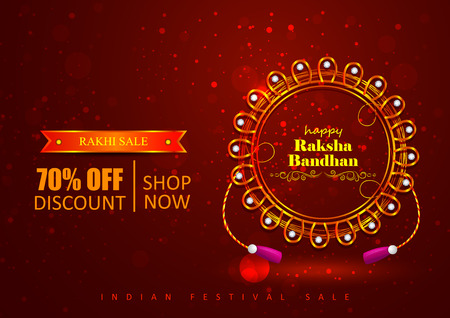 Decorated Rakhi for Indian festival Raksha Bandhan shopping sale promotion offer