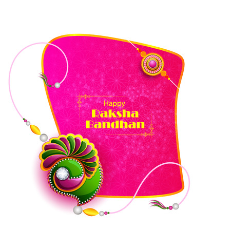 Decorated rakhi for Indian festival Raksha Bandhan Illustration
