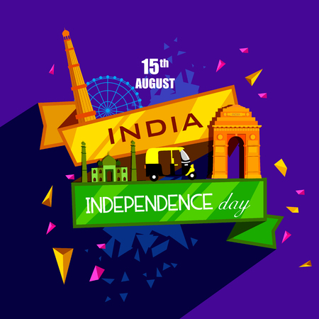 vector illustration of Famous monument of India in Indian background for 15th August Happy Independence Day of India 矢量图像