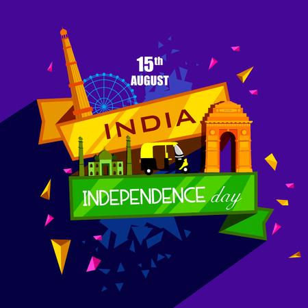vectorillustratie van beroemde monument van India op Indiase achtergrond voor 15 augustus Happy Independence Day van India Vector Illustratie