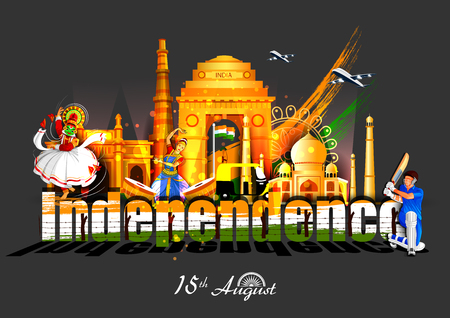 vector illustration of Indian tricolor background for 15th August Happy Independence Day of India Фото со стока - 114710532