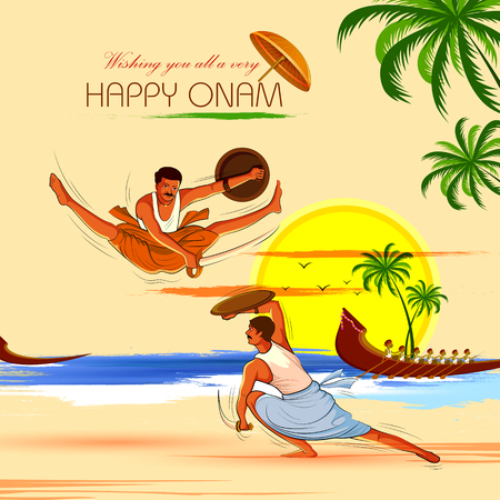 vector illustration of Happy Onam background for Festival of South India Kerala with Kalaripayattu dance form Illustration