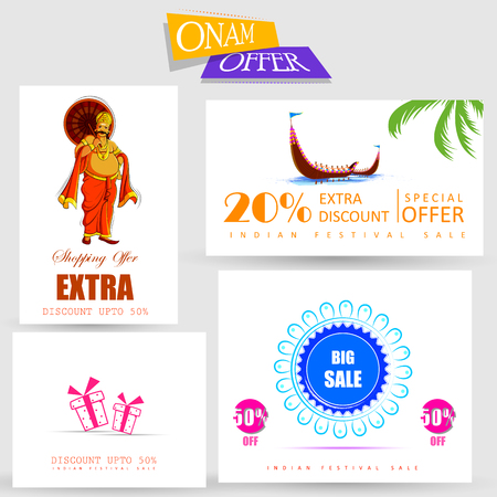vector illustration of Happy Onam Big Shopping Sale Advertisement background for Festival of South India Kerala Illustration
