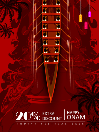 Happy Onam Big Shopping Sale Advertisement background for Festival of South India Kerala 向量圖像