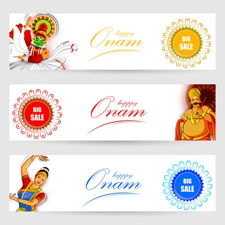 Happy Onam Festival Background with Kathakali dancer  and King Mahabali Illustration