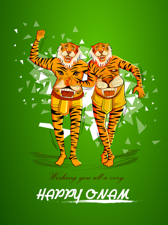 Happy Onam background for Festival of South India Kerala with Puli Kali dancer
