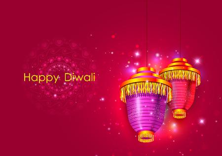 Decorated hanging lamp for Happy Diwali festival holiday celebration of India greeting background Vektorové ilustrace