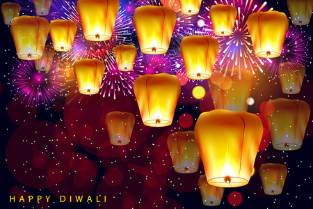 Decorated Floating sky lamp for Happy Diwali festival holiday celebration of India greeting background