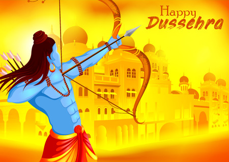 Lord Rama killing Ravana in Happy Dussehra festival of India