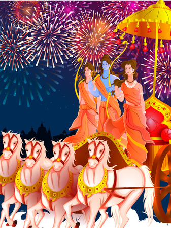 Lord Rama, Sita and Laxmana blessing for Happy Dussehra festival of India