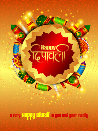 Colorful fire cracker with decorated diya for Happy Diwali festival holiday celebration of India greeting background Vektorové ilustrace