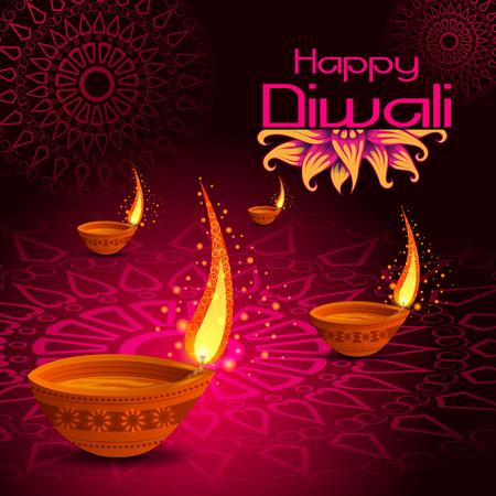 Decorated Diya for Happy Diwali festival holiday celebration of India greeting background Vektorové ilustrace