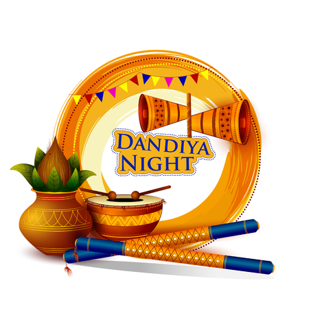 Dandiya night celebration Navratri during Dussehra with Dhol