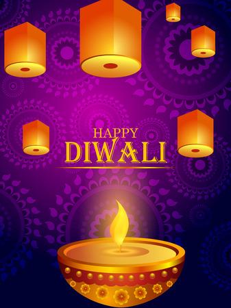 vector illustration of Decorated Diya for Happy Diwali festival holiday celebration of India greeting background