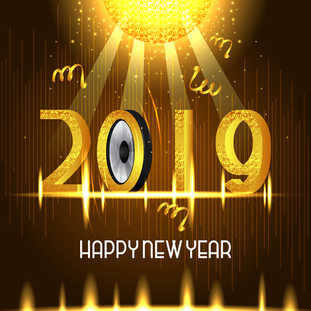 vector illustration of seasons greetings background for Happy New Year 2019