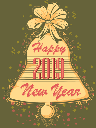 Colorful design of Happy New Year 2019 greetings