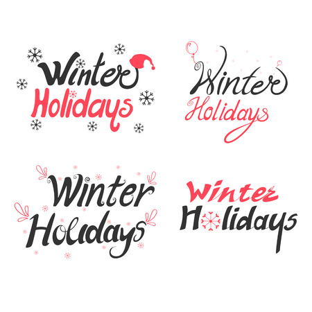 Vector design of Colorful design of Winter Holidays and Happy New Year typography greetings calligraphy text