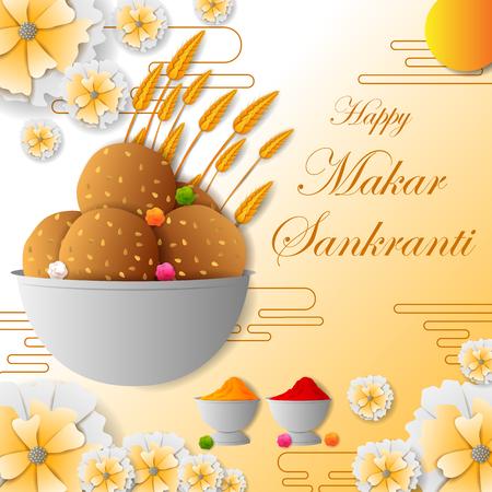 Happy Makar Sankranti holiday India festival sale and promotion background