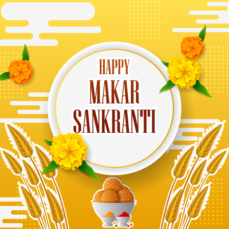 Happy Makar Sankranti holiday India festival sale and promotion background