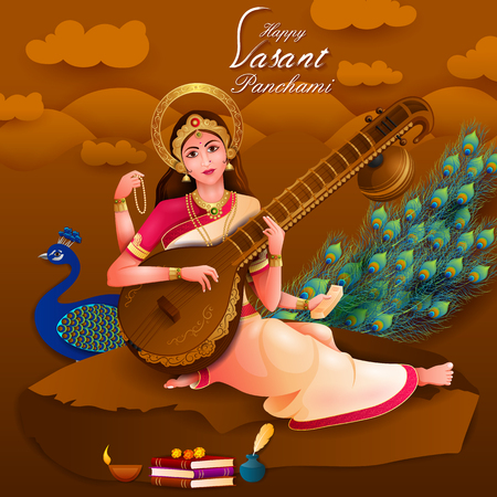 Vasant Panchami Saraswati Puja Indian festival background Иллюстрация