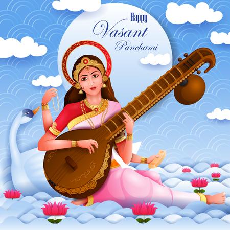 Vasant Panchami Saraswati Puja Indian festival background Illustration