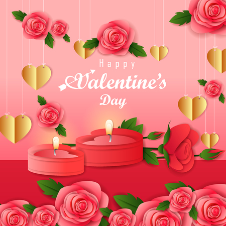 Paper cut style Happy Valentines Day greetings background