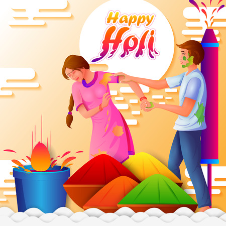 vector illustration of Indian people playing India Festival of Color Happy Holi background Illustration