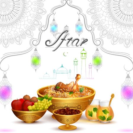 Ramadan Kareem Greetings for Ramadan   with Iftar Food and Drink