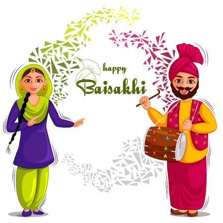 vector illustration of Greetings background for Punjabi New Year festival Vaisakhi celebrated in Punjab India