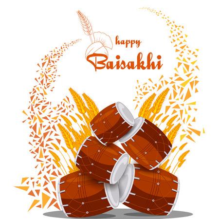 Greetings   for Punjabi New Year festival Vaisakhi celebrated in Punjab India