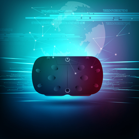 vector illustration of VR Virtual Reality headset glasses to experience futuristic cyberspace technology