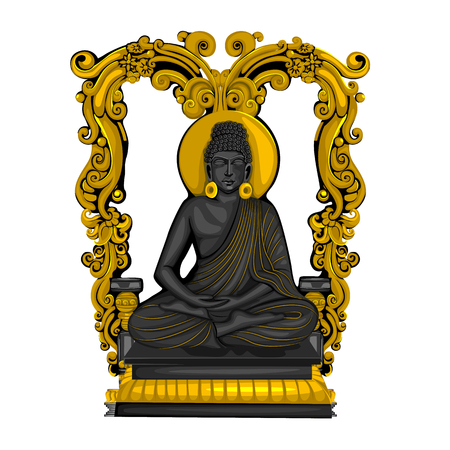 Vintage statue of Indian Lord Buddha sculpture one of avatar from the Dashavatara of Vishnu engraved on stone Illustration
