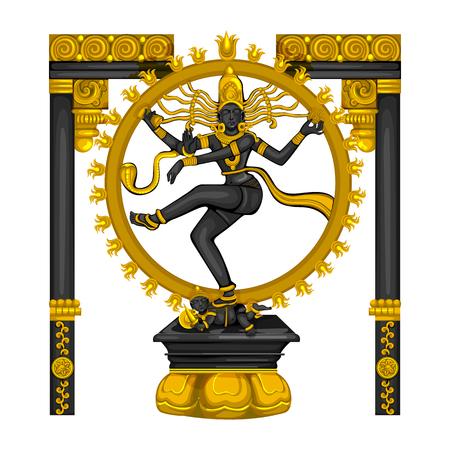 Vintage statue of Indian Lord Shiva Nataraja sculpture engraved on stone Illustration