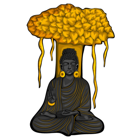 Vintage statue of Indian Lord Buddha sculpture one of avatar from the Dashavatara of Vishnu engraved on stone Stock Vector - 123624295