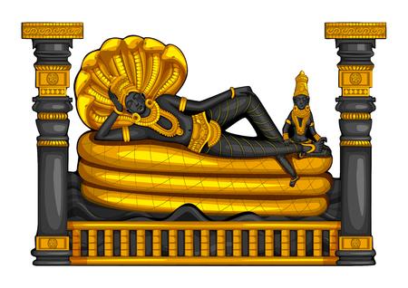 Vintage statue of Indian Lord Vishnu sculpture engraved on stone