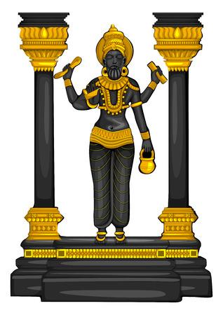 Vintage statue of Indian God Vishwakarma sculpture engraved on stone