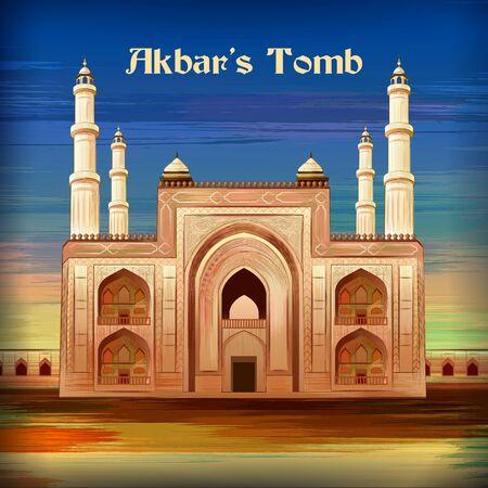 Monumento histórico Tumba de Akbars en Sikandra Agra, Uttar Pradesh, India