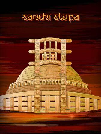 Monumento histórico Sanchi Stupa en Madhya Pradesh, India