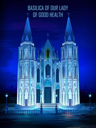 Historical monument Basilica of Our Lady of Good Health Church in Velankanni, Tamil Nadu, India Illustration