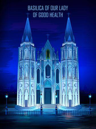 Historical monument Basilica of Our Lady of Good Health Church in Velankanni, Tamil Nadu, India Illustration