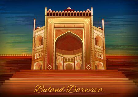 Monumento histórico Buland Darwaza en Fatehpur Sikri Agra, Uttar Pradesh, India Ilustración de vector