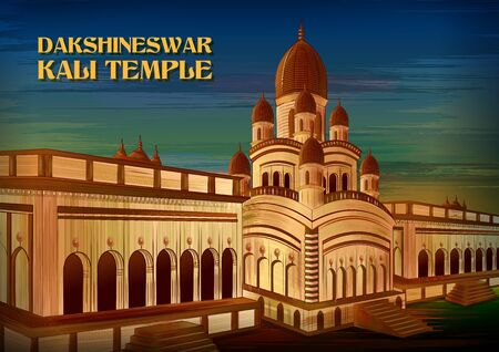 Historical monument Dakshineswar Kali Temple in Kolkata, West Bengal, India Illustration