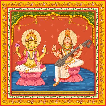 Design of statue of Indian Lord Brahma and Goddess Saraswati with vintage floral frame