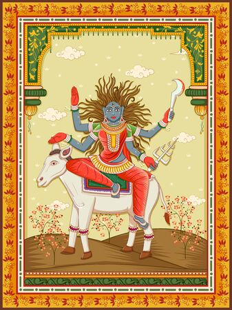 Vector design of statue of Indian Goddess Kaal Ratri one of avatar from Navadurga with vintage floral frame