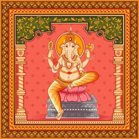 Diseño vectorial de la estatua del Señor indio Ganesha con marco floral vintage